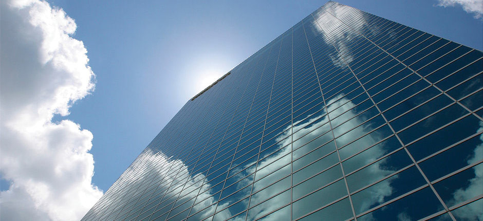 Glass Building with Cloud